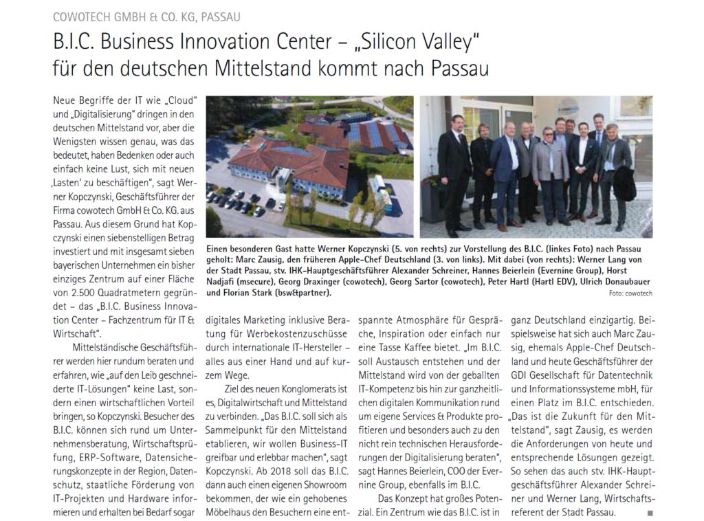 Die IHK Niederbayern berichtet über das B.I.C. - Business Innovation Center der Cowotech aus Passau.